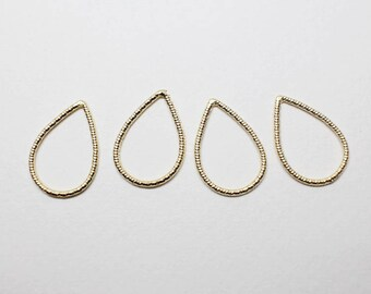 P0649/Anti-Tarnished  Matte Gold Plating Over Pewter/Textured Drop Pendant Small/13.5x20mm/4pcs