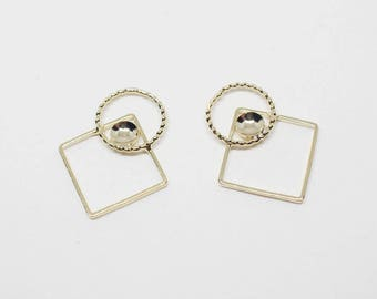 P0687-1/Anti-Tarnished Gold Plating over Brass/Rhombus Circle Pendant Connector/17x20mm/4pcs