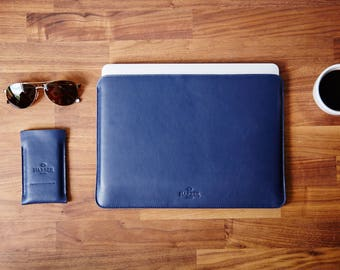 "MacBook Air 11"" Leather Sleeve Case and Wool Felt Laptop Cover Handmade, MacBook Air 13 inch, MacBook Air 11 inch felt leather case"