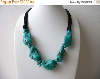 ON SALE Retro Southwestern Inspired Chunky Heavier Simulated Turquoise Nugget Stones Necklace 61717