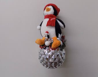 Penguin on a 6 Inch Shatterproof Ornament Ball