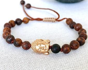 Mala Bracelet, Buddha Bracelet, Brown Agate Bracelet, Aged Agate, Yoga Bracelet, Meditation Bracelet, Gemstones Bracelet, Yoga jewelry