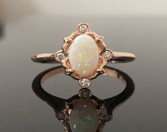 Rose Gold Opal Engagement Ring - 14K Rose Gold Opal and Diamond Vintage Inspired Ring - Rose Gold Australian Opal and Diamond Victorian Ring
