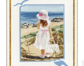 Cross Stitch Kit by Golden Fleece - Beach. Girls room decor; birthday gift; Childhood Memory;
