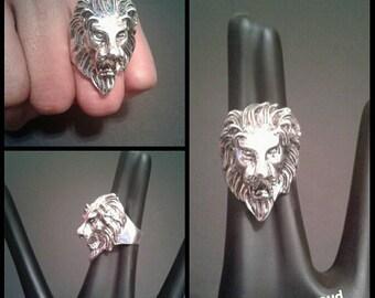 Men's Silver Lion Rasta Ring