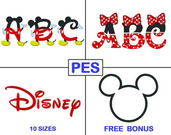 Disney Embroidery Font Bundle - 3 Fonts - PES - Mickey - Minnie - Embroidery Letters - Brother - Machine Embroidery Designs Patterns