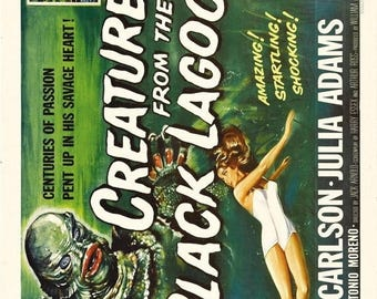 Back to School Sale: Creature From the Black Lagoon Movie Poster Horror Classic