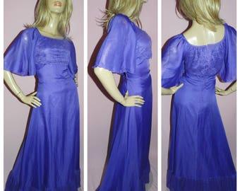 VINTAGE 70s Purple Flutter WING Slvd Lace trim Chiffon floaty maxi dress 12-14 M 1970s EVENING Party