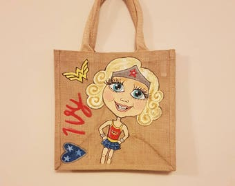 Caricature Jute Bag - Medium Size - Personalised Hand painted Jute Bag