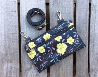 Festival Fanny Pack, Yellow Floral Waist Bag, Waterproof Mini Bag, Vegan Crossbody Bag, Womens Utility Bag, Boho Bumbag, Custom floral Bag
