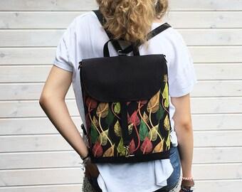 Vegan Leaf Mini Backpack, Women's 2in1 Rucksack, Small Backpack, Functional Crossbody Bag, Vegan Rucksack, Waterproof Backpack, Leaf Bag
