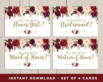 Will You Be My Bridesmaid Card Set, Floral Printable Wedding Card, Proposal Bridesmaid Card, Autumn Wedding Card, Fall Wedding Invite