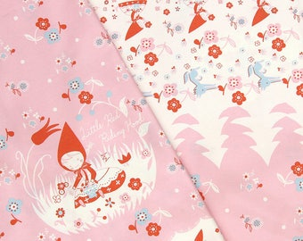 Japanese Shinzi Katoh Little Red Riding Hood Cotton Oxford Border Print | Pink | one meter