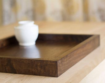 Wooden Tray in Dark Walnut Wood – Makes a Great Serving Tray or Tray for Ottoman