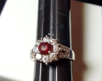 ON SALE : Red and Clear Stone Ring .925 Sterling silver size 8