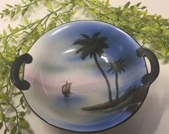 Vintage Noritake 2 Handles 1918 Hand Painted Bowl