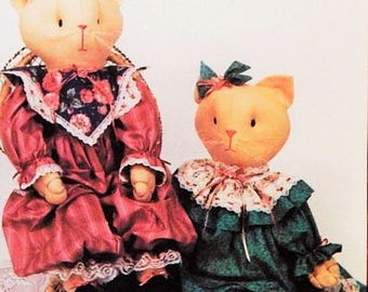 """Cat Doll Pattern - 24"""" Stuffed Cat Doll & Clothing Pattern - H131 Lacey - """"Hickory Stick and Co."""" by Suzy Collins"""