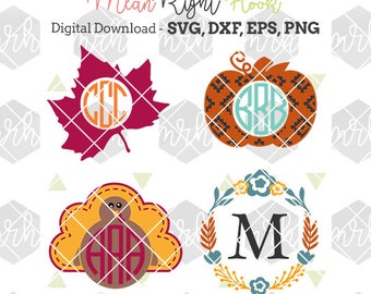 Thanksgiving Monogram svg, Fall Monogram svg, Pumpkin svg, INSTANT DOWNLOAD for cutting machines svg, png, dxf, eps (monograms not included)
