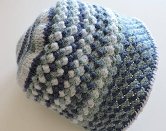 Baby alpaca and Merino Wool Hat with 3 blue