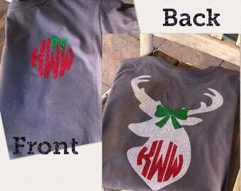 Christmas shirt glittery with deer