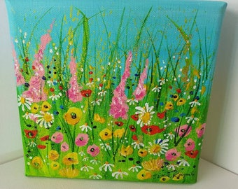 "Bright floral summer meadow painting on 6x6"" box canvas"