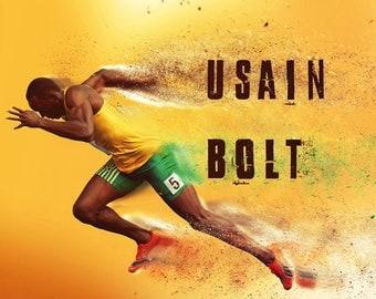 Usain Bolt Poster Running Fast Lightning Art Print (24x18)