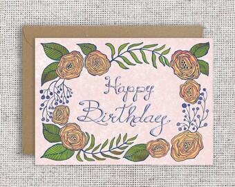 Happy Birthday Peony Card   Orange ranunculus blossoms, hand-lettered, elegant card