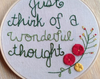Peter Pan Just Think of a Wonderful Thought hand embroidered Disney hoop art