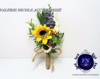 Sunflower Boutonnieres Wedding  Boutonniere,Berries boutonniere, Rustic Boutonniere,Groomsmen Flowers, Boutonniere for groom, groomsmen
