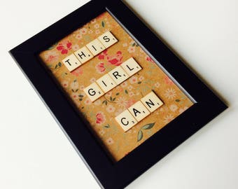 This Girl Can | Roller Derby | Follow Your Dreams | Love | Uplifting | Friends | Home | Gift | Scrabble | Retro