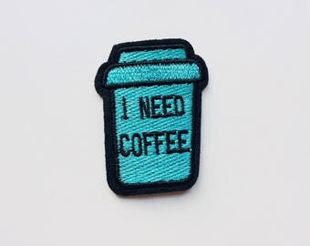 I Need Coffee | Morning | Wake Up | Coffee | Patch | Cute | Hipster | Trendy | Emo | DIY | Fashion | Retro
