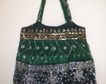 dark green nature pailllete cotton Indian bag XL