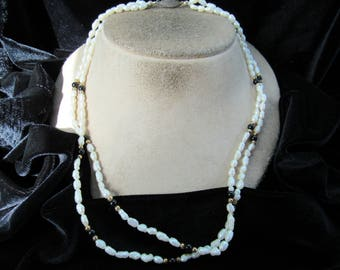 Vintage Double Stranded Pearl & Black Onyx Beaded Necklace