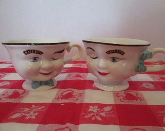 Vintage Pair of Boy & Girl Bailey's Yum Cups - Mugs. When Coffee is Just Not Enough!