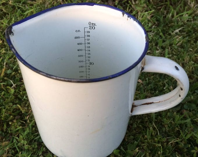"FREE SHIPPING Enamel Measuring Jug, White and Blue Enamelware Jug, Circa 1930, 20 Fluid Oz's, 4.5"" x 4.5"" x 5.5"", Chips & Slight Rust"