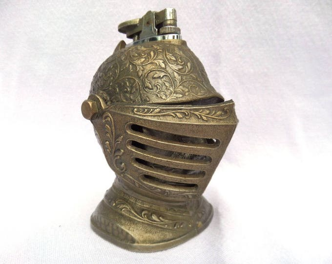 "Knight Lighter, White Metal, Vintage 1960's Gas Lighter, Untested & No Gas Supplied, 4.25"" x 2.75"", Ideal Paperweight, Cool Vintage Decor!"
