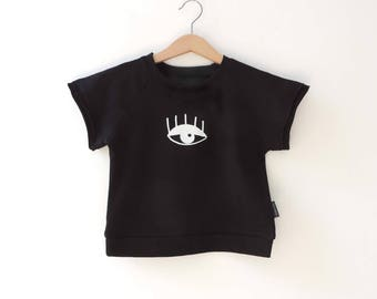 Black Short Sleeves Shirt, Oversized Kids -Shirt, Toddlers Kids Shirt, Hipster Boy Girl Black Shirt, Eye Print  Shirt - By PetitWild