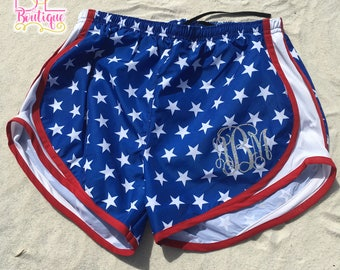 USA Ladies' Active Shorts - Glitter Monogrammed