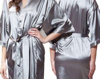 Grey Satin Kimono Robe - Glitter Monogram Personalization - Bridal Party Bridesmaid Robe