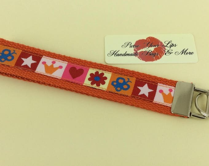 Crowns, Stars and Flowers webbing key fob wristlet key ring lanyard wedding favour handmade in England