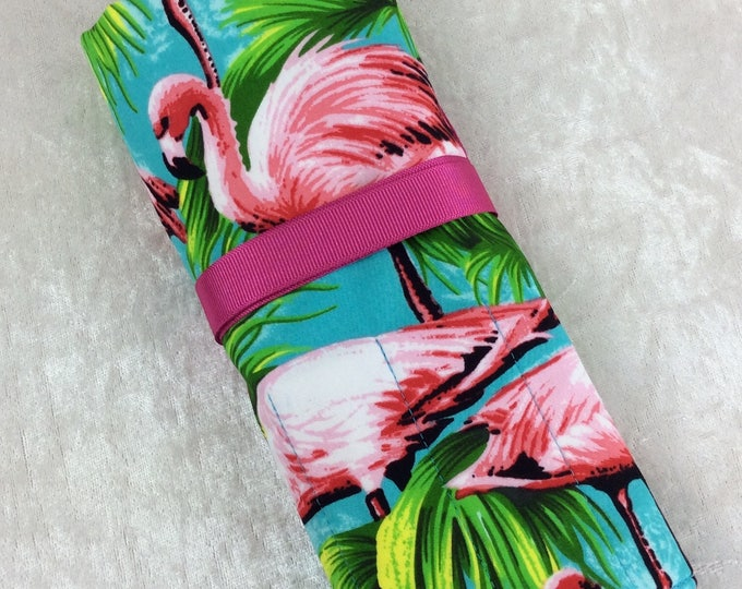 Flamingos Makeup Pen Pencil Roll Crochet Knitting needles tool holder case Handmade in England