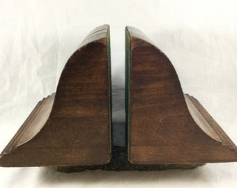 Antique Wood Handmade Bookends - 1920s Hand Carved Wood Bookends Signed - Mahogany Wood Bookends