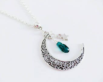 Necklace Moon filigree and Teardrop Swarovski emerald green