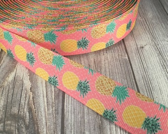 Pineapple ribbon - Pink pineapple - Fruit ribbon - Grosgrain ribbon - Crafting ribbon - Summer ribbon - Hawaiian ribbon - Tropical ribbon