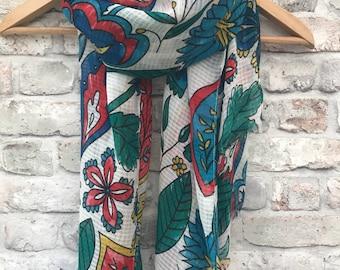 Women's scarf, fashion scarf, bold paisley patterned scarf, birthday gift, womens gift, shawl, wrap, bright scarf, bold print