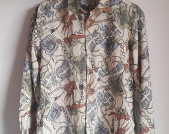 ON SALE 30% Vintage Stylish Royalty Baroque Swag Shirt Large