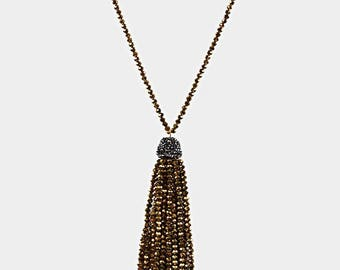 Gold Faceted Bead Tassel Long Necklace