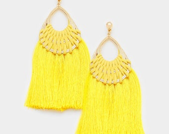 Yellow Woven Thread Teardrop Tassel Earrings