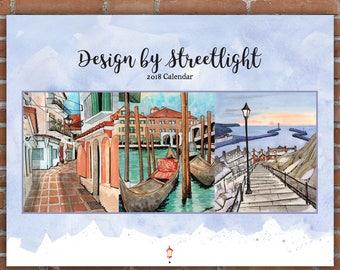 2018 Wall Calendar / DBSL 2018 Calendar / 2018 Art Calendar / Watercolor Calendar / Urban Sketching Calendar / Vibrant calendar / For her