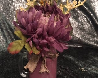 Purple Floral Arrangement in Purple painted Mason Jar